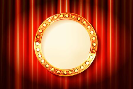 Cinema golden round frame with shining light bulbs on red curtains background. vector illustration  イラスト・ベクター素材