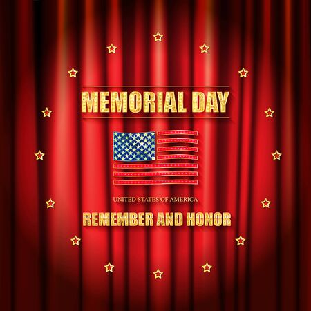 Memorial day banner in a circle of Golden stars. Against the background of the red curtain. Vector illustration