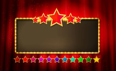 Vector wide stage with five stars and an empty Billboard Vektorgrafik