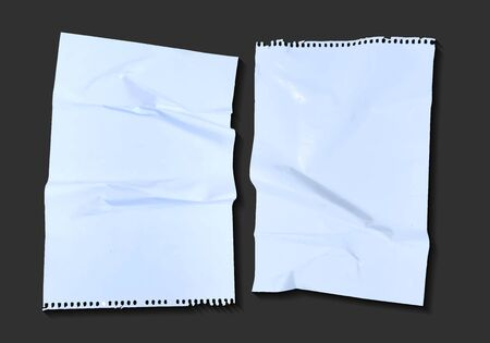2 crumpled sheets of paper on a dark background vector illustration  イラスト・ベクター素材