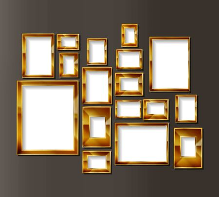 Frames for photos or paintings on an old wall. Vector borders gallery in the Museum exhibition. Vector illustration