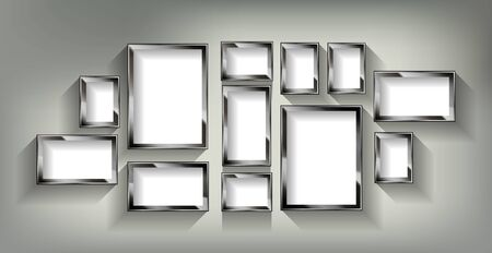 A set of silver photo frames. On a pastel background. Vector illustration Archivio Fotografico - 149910517