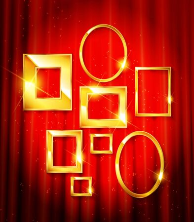 Gold frames with red drapes and dark background. Vector illustration