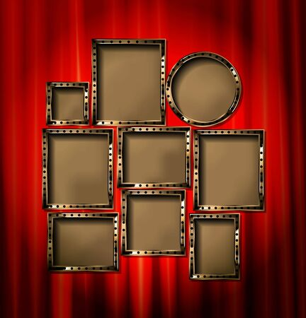 Gold frames with red drapes and dark background. Vector illustration Archivio Fotografico - 149910519