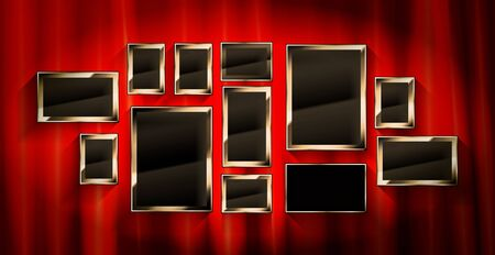 Gold frames with red drapes and dark background. Vector illustration Archivio Fotografico - 149910523