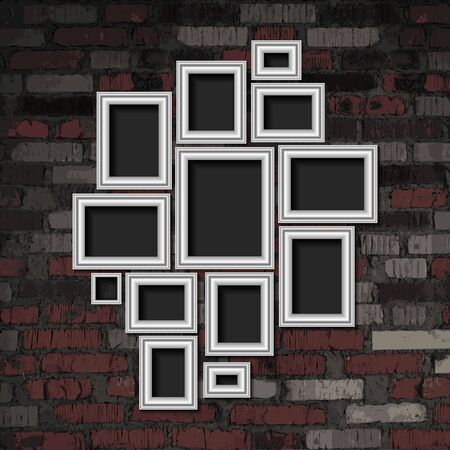 A set of silver photo frames against an old brick wall. Vector illustration  イラスト・ベクター素材