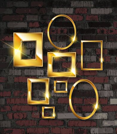 Gold photo frames on a brick wall background. Vector illustration