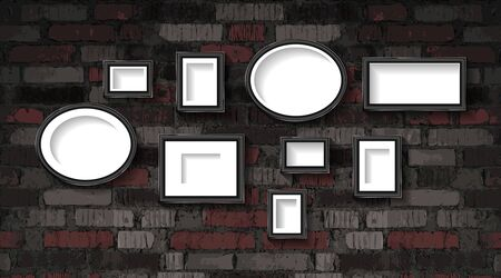 A set of silver photo frames against an old brick wall. Vector illustration Archivio Fotografico - 150165063