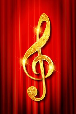 Gold ribbon in the shape of treble clef on a red curtain background - vector illustration  イラスト・ベクター素材