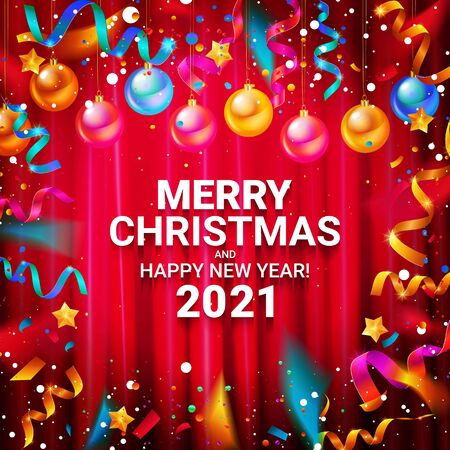 Happy new year 2021 typography vector design for greeting cards and posters with Christmas balls confetti, design template for new year celebrations. Against the curtain.
