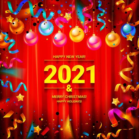 Happy new year 2021 typography vector design for greeting cards and posters with Christmas balls confetti, design template for new year celebrations. Against the curtain. Archivio Fotografico - 150510968