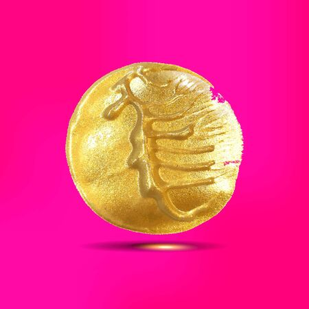Gold acrylic spot on a pink background. Vector illustration.  イラスト・ベクター素材