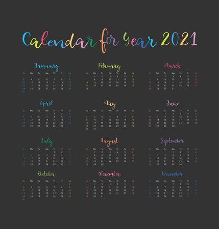 Calendar 2021. Week starts on Sunday.Colorful design on dark background. Vector illustration  イラスト・ベクター素材