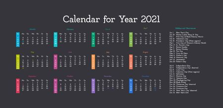 Vector calendar for 2021 year. Day planner the scheduler in this minimalist for print on a dark background. Archivio Fotografico - 150510981