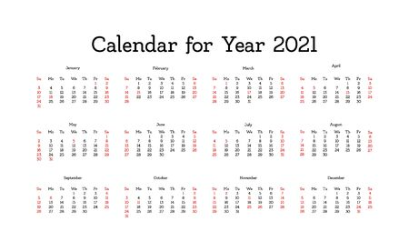 Vector calendar for 2021 year. Day planner the scheduler in this minimalist for print on a white background.