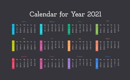 Vector calendar for 2021 year. Day planner the scheduler in this minimalist for print on a dark background.