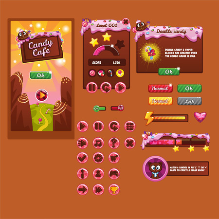 candy bar: Interface game design (resource bar and resource icons for games) theme candy Illustration