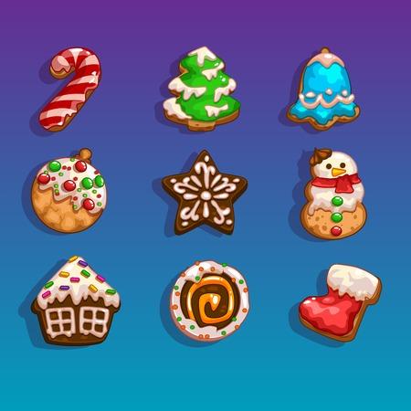 galletas de jengibre: Los iconos de los juegos en el tema de la Navidad
