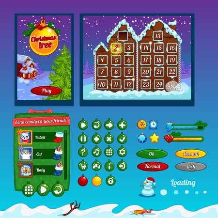 interface menu tool: The design of the game interface on the theme of Christmas Illustration