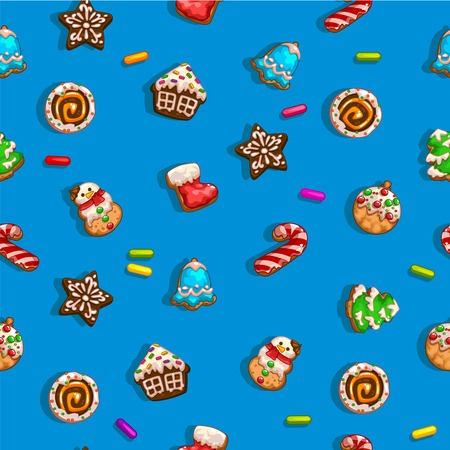Seamless backgrounds with Christmas gingerbreads. Four versions of color, vector illustration 일러스트