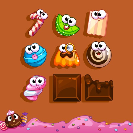 Icons funny candy and chocolate