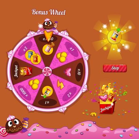 rueda de la fortuna: Los elementos de diseño de la interfaz del juego.