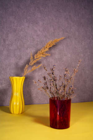Dried natural flower in a plastic vase and dry spikelet 版權商用圖片