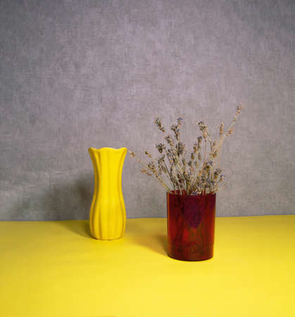 Dried natural flower in a plastic vase and vase