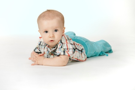 stilish: Little stilish six month boy on the white background