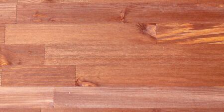 wooden background, brown table, boards with knots, top view banner