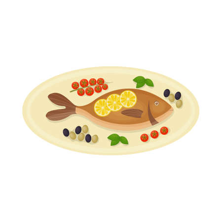 baked fish of the Mediterranean Sea dorado on an oval plate with tomatoes olives and basil. A dish of Mediterranean cuisine. Vector illustration isolated on white background.