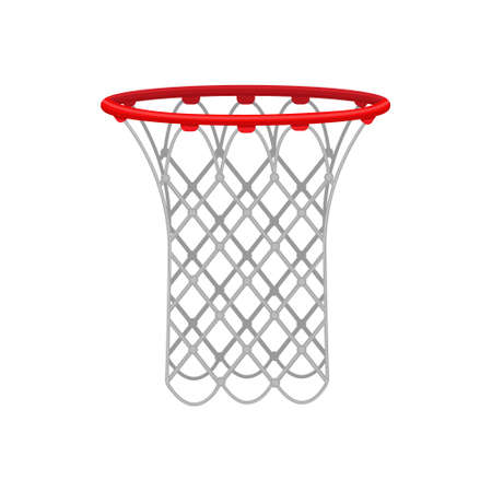 Red basketball hoop with a rope net, for playing basketball. Sports equipment. Vector illustration isolated on a white background.