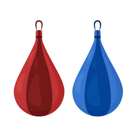Two small hanging punching bags of red and blue colors . Sports equipment for boxing, kickboxing and other martial arts. Vector illustration isolated on a white background