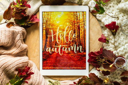 The tablet says the word hello Autumn with red leaves and a dais on the wooden background. Concept of the autumn View from above. Copy Space. Reklamní fotografie