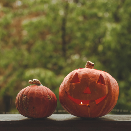 Background Halloween pumpkin on a cozy window sill with a red plaid. Whole pumpkin and sparkler outdoors. Happy Halloween! Autumn is cozy. rain outside. Archivio Fotografico
