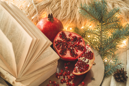 Cozy winter morning at home. Book and Pomegranate in a winter composition, Christmas trees, cones. Warm pillows and garlands on the background. Symbol of New Year and Christmas. Reading time