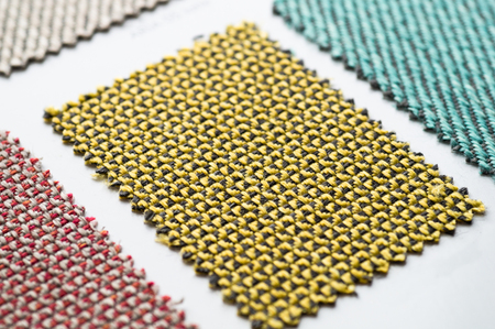 Catalog of multicolored cloth from matting fabric texture background, silk fabric texture, textile industry background.