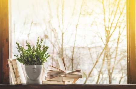 Opened books on vintage windowsill with a beautiful flower vase. Background from books. Books Opened
