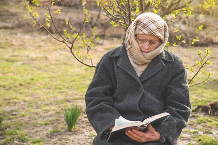 Grandmother reads the holy scripture bible. Thinking of God. Power of religion, worship, belief. Warm tone Фото со стока