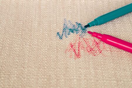 Drawn fabric on the couch with colored pencils. Furniture fabric. Cleaning concept.