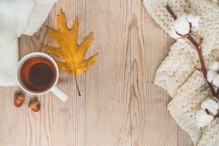Background with warm sweaters and cup tea. Cozy still life in warm shades, space for text, Autumn winter concept. Copy Space.