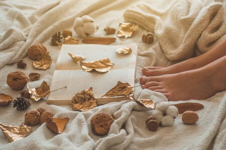 Cozy Autumn winter evening , warm woolen socks. Woman is lying feet up on white shaggy blanket and reading book. Cozy leisure scene. Text in book is unreadable. Woman relaxing at home. Comfy lifestyle