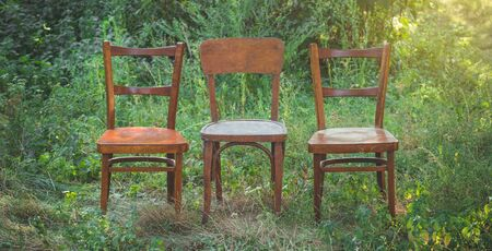 Pair old wooden chair outdoors. Two wooden folding chairs for rest. Around the lush grass and white flowers. Solar glare is played on a wooden surface. 写真素材