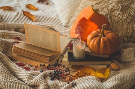 Still life details in home interior of living room. Sweaters and cup of coffee with pumpkins and autumn decor on the books. Read, Rest. Cozy autumn or winter concept. Stock Photo