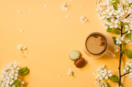 Cup coffee and bloom delicate flowers on a pastel yellow background. Springtime concept. Stock fotó