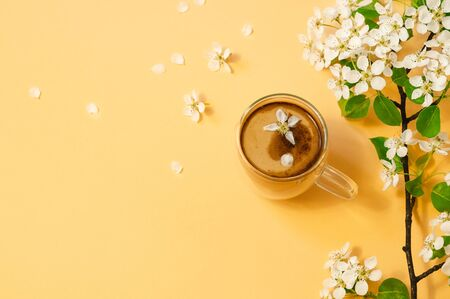 Cup coffee and bloom delicate flowers on a pastel yellow background. Springtime concept.