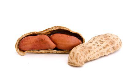 goober: three peanut on isolated background Stock Photo