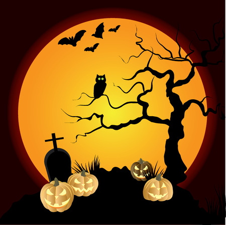 Scary halloween background with tree and moon Vector