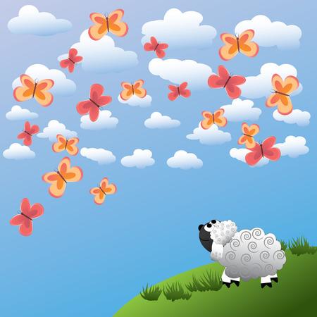 The sheep admires beautiful butterflies Vector
