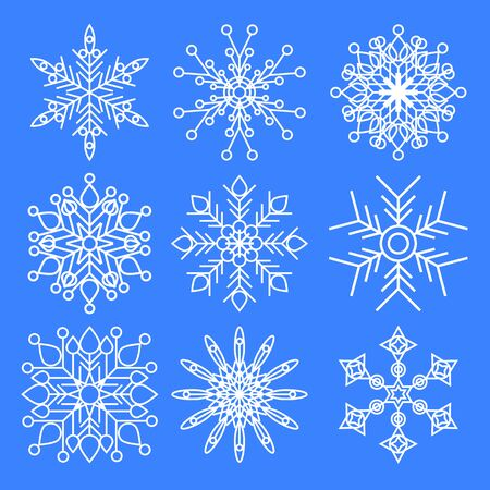 Set of Christmas snowflakes isolated on blue background